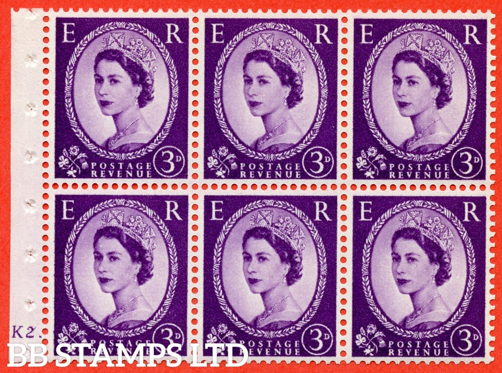 "SG. 545. SB90. 3d Deep Lilac. A fine UNMOUNTED MINT cylinder "" K2  dot "" booklet pane of 6. Perf type (Iet) with GOOD PERFS. Smooth edge."