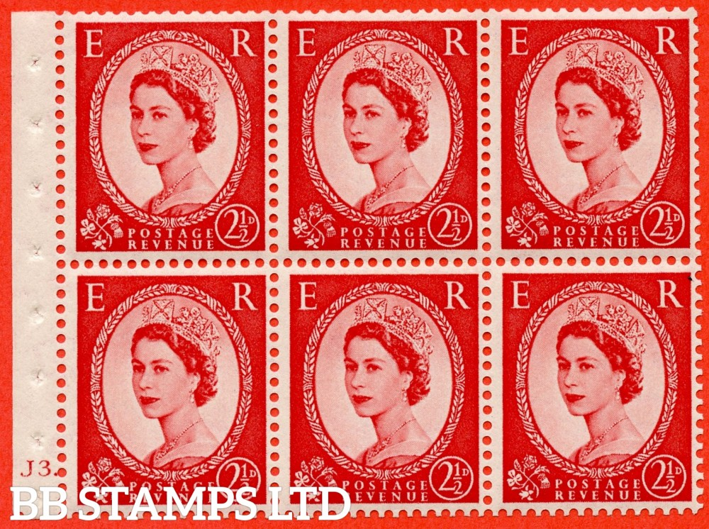 "SG. 519 b. SB80. 2½d carmine - red. A fine UNMOUNTED MINT cylinder "" J3 dot "" booklet pane of 6. Perf type (Ieb) with GOOD PERFS. Smooth edge."