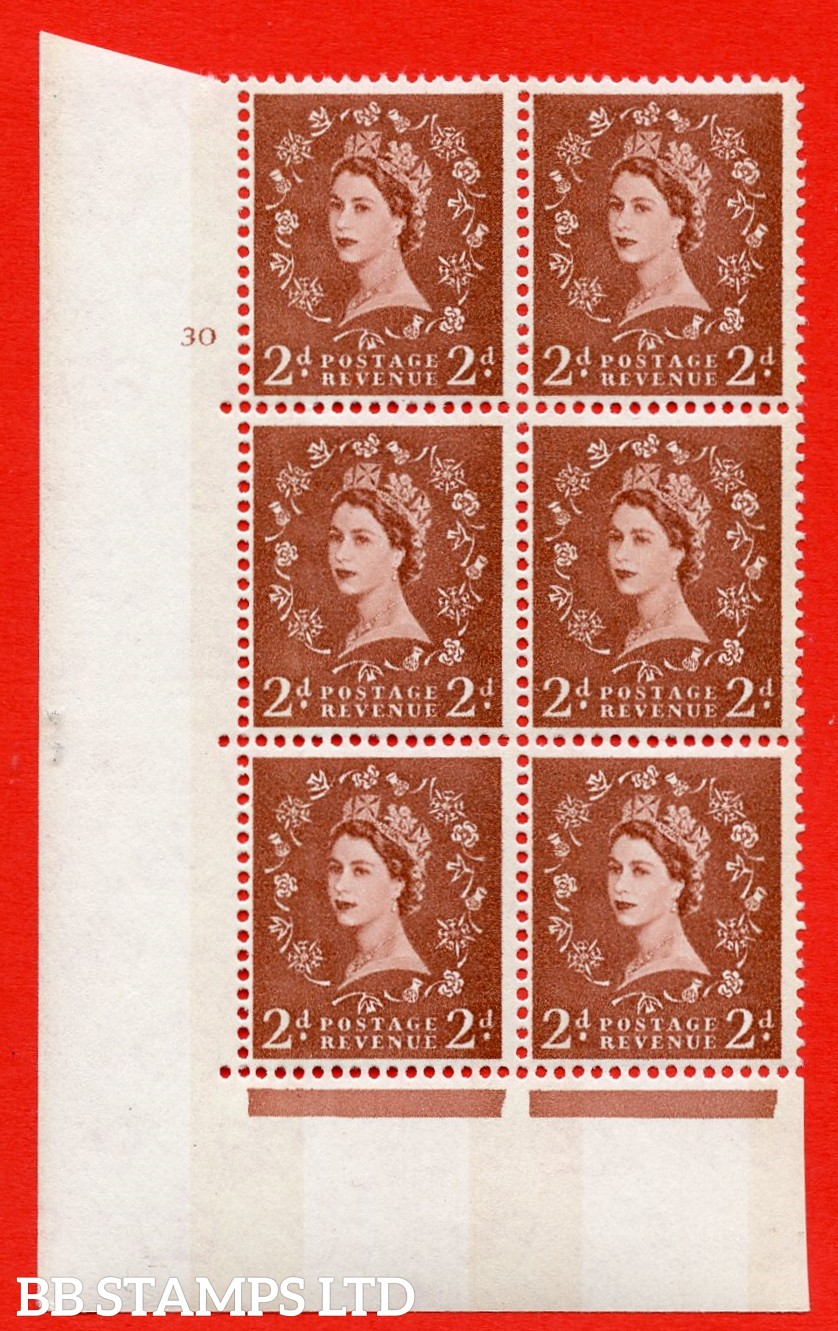"SG.613a. S48. 2d Light red brown. A superb UNMOUNTED MINT "" cylinder 30 no dot "" control block of 6 with perf type A (E/I). violet Phosphor 8mm Band."
