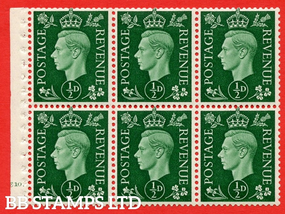 SG. QB1 Perf Type B4A(I). ½d Green x 6 Pane, UNMOUNTED MINT Watermark Upright. Cylinder Pane E10 dot ( SG. 462b ) Perf Type B4A(I). Good Perfs.