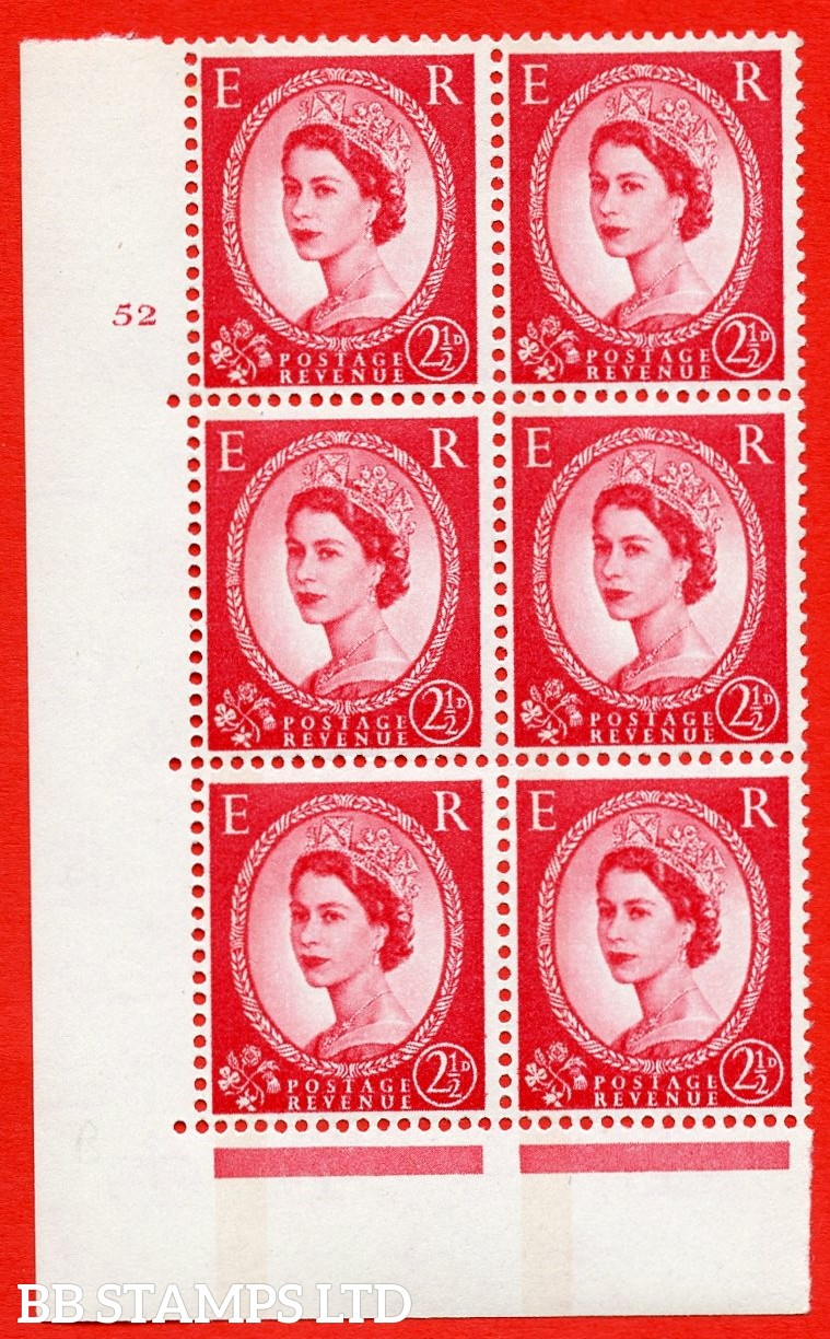 "SG.614a. S65. 2½d Carmine red. LB Photo.  A superb UNMOUNTED MINT "" cylinder 52 no dot "" control block of 6 with perf type A (E/I). Blue Phosphor White paper"