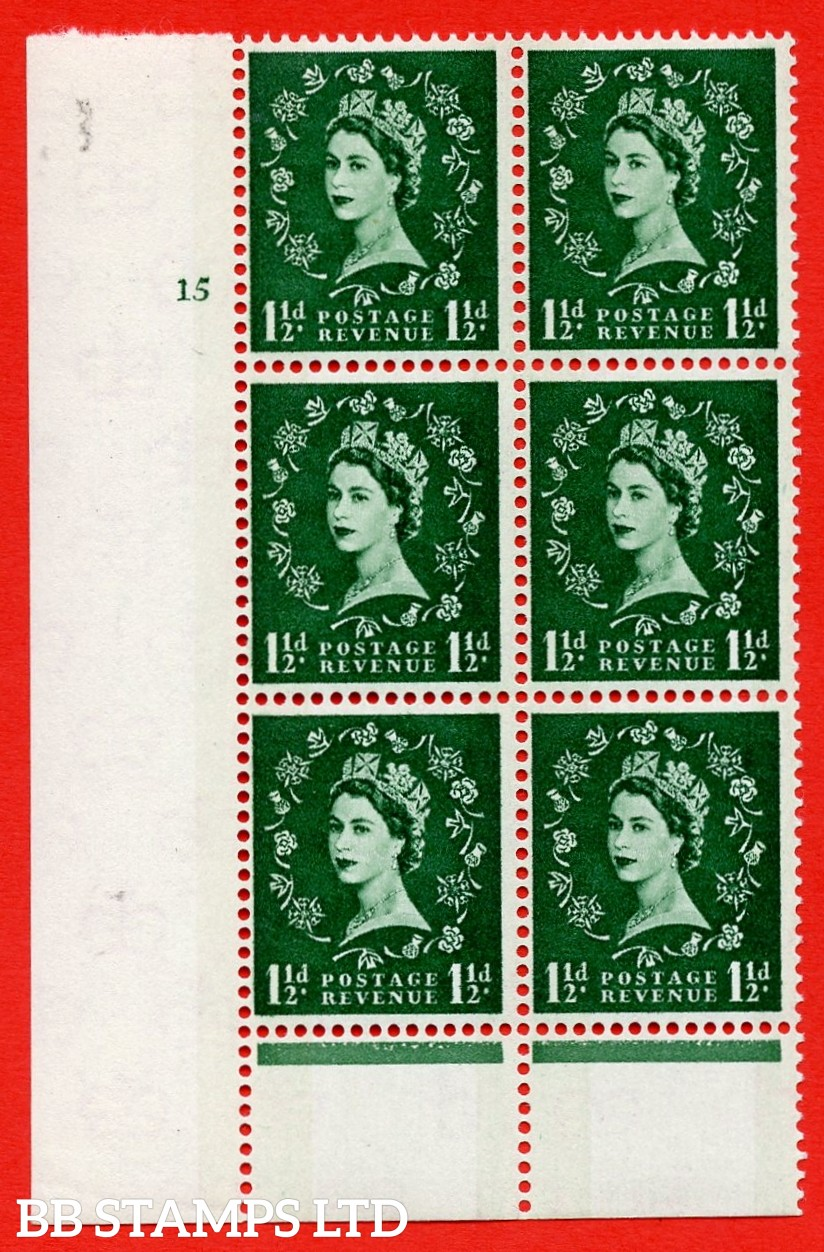 """SG.612. S33. 1½d Green. A superb UNMOUNTED MINT """" cylinder 15 no dot """" control block of 6 with perf type B (I/P). Blue Phosphor Cream paper."""