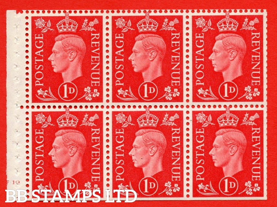SG. QB10 Perf Type B4(E) 1d Scarlet x 6 Pane, UNMOUNTED MINT Watermark Upright. Cylinder Pane F10 no dot ( SG. 463b ) Perf Type B4(E). Trimmed Perfs.
