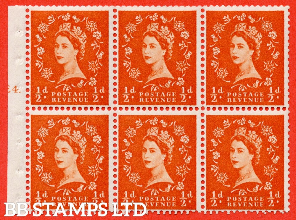 "SG. 540. SB4. ½d orange - red. A fine mounted mint cylinder "" E4 T no dot "" booklet pane of 6. Perf type (I) with TRIMMED PERFS. Smooth edge. Erroneous dot variety."