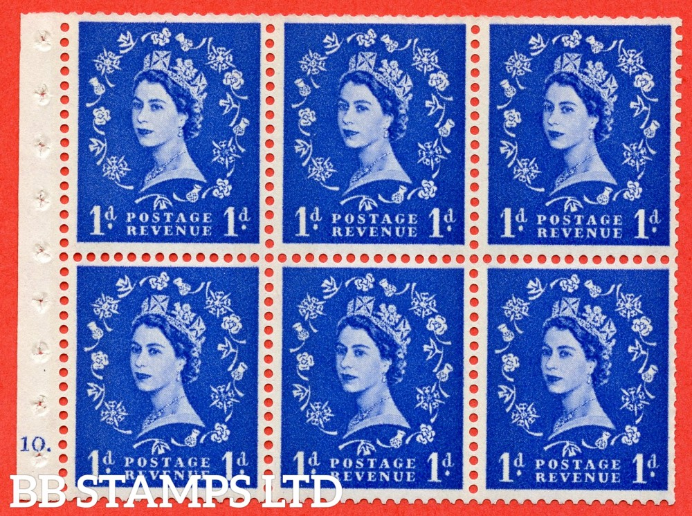 "SG. 611. SB41. 1d Ultramarine. A fine UNMOUNTED MINT cylinder "" F10 dot "" booklet pane of 6. Perf type (Iet) with TRIMMED PERFS. Smooth edge. Cream Paper."