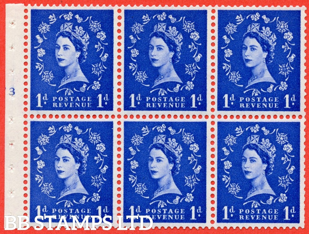 "SG. 571. SB30. 1d Ultramarine. A fine mounted mint cylinder "" F3 T no dot "" booklet pane of 6. Perf type (I) with TRIMMED PERFS. Smooth edge Cream paper."