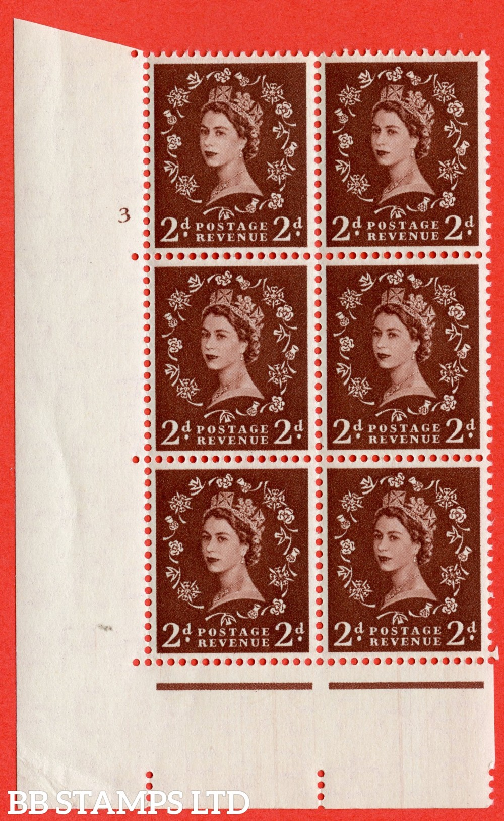 "SG. 518. S36. 2d Red-Brown. A superb UNMOUNTED MINT "" cylinder 3 no dot "" control block of 6 with perf type A E/I."