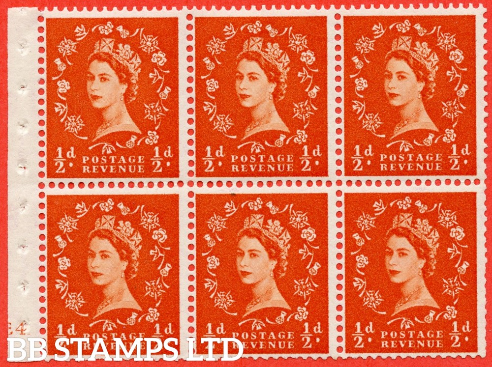 "SG. 515. SB1. ½d orange - red. A fine UNMOUNTED MINT cylinder "" E4 no dot ( Erroneous dot) "" booklet pane of 6. Perf type (I) with TRIMMED PERFS. Smooth edge."