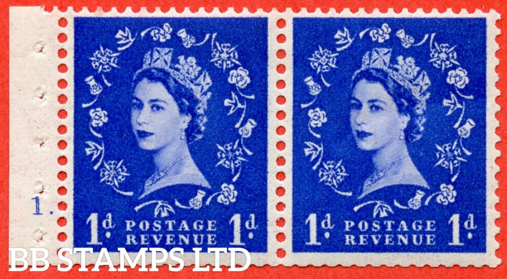 "SG. 516. SB22. 1d ultramarine. A fine UNMOUNTED MINT cylinder "" 1 dot "" booklet pane of 2. Perf type (E) with TRIMMED PERFS. Smooth edge."