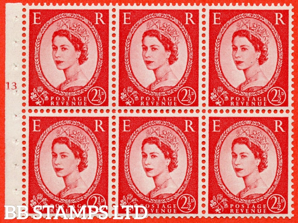 "SG. 574. SB82. 2½d Carmine Red Type II. A fine UNMOUNTED MINT cylinder "" J13 T no dot "" booklet pane of 6. Perf type (I) with GOOD PERFS. Smooth edge. Cream paper."