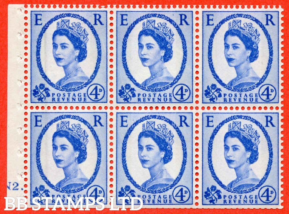 "SG. 616a. SB111. 4d Deep Ultramarine. A fine UNMOUNTED MINT cylinder "" N2 dot "" booklet pane of 6. Perf type (Ieb) with TRIMMED PERFS. Smooth edge."