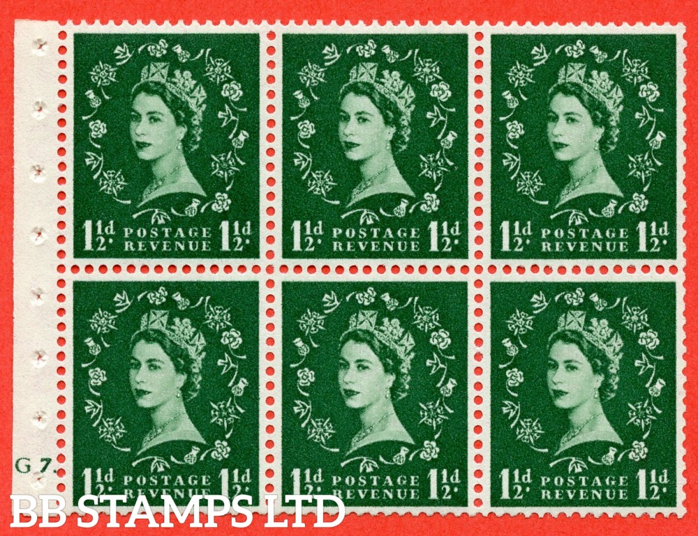 "SG. 542. SB62. 1½d green. A fine UNMOUNTED MINT cylinder "" G7 dot "" booklet pane of 6. Perf type (Ieb) with GOOD PERFS. Smooth edge."