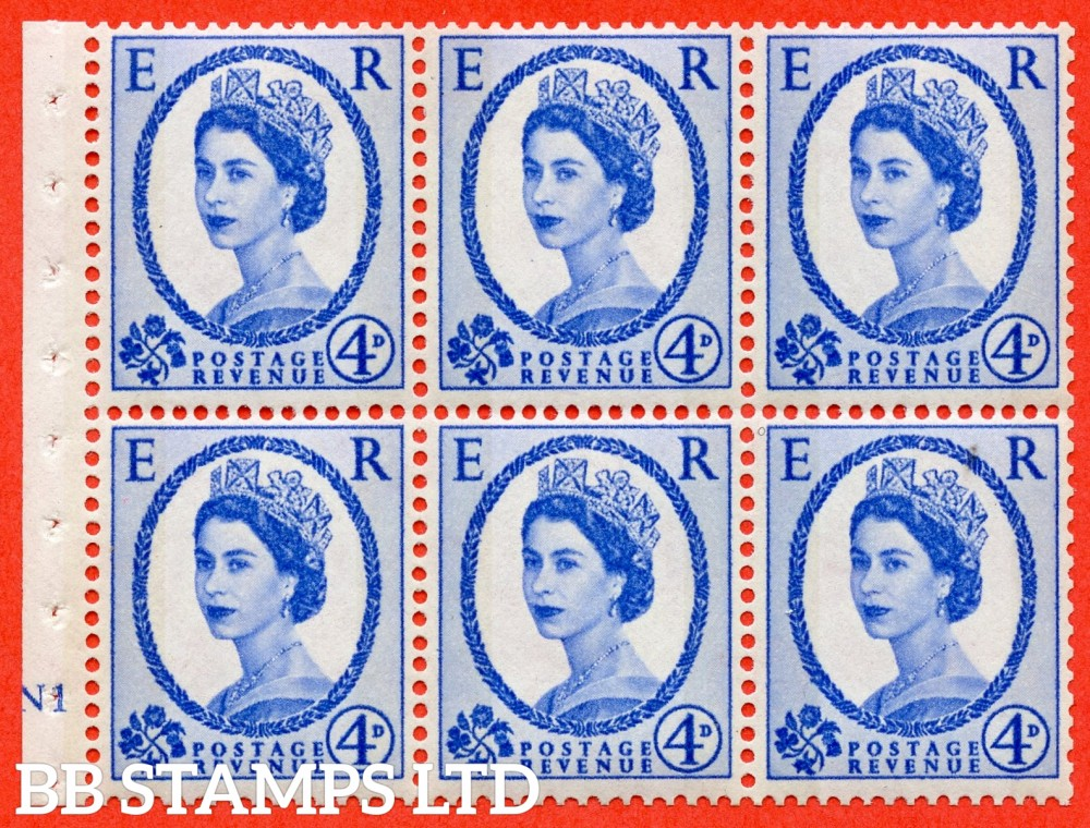 "SG. 616a. SB109. 4d Deep Ultramarine. A fine UNMOUNTED MINT cylinder "" N1 no dot "" booklet pane of 6. Perf type (I) with GOOD PERFS. Smooth edge. White Paper."