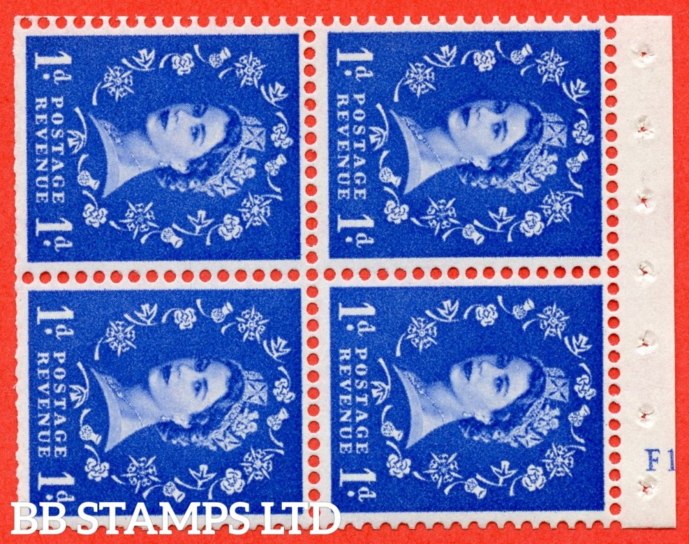 "SG. 571. SB33. 1d Ultramarine. A fine UNMOUNTED MINT cylinder "" F12  no dot "" booklet pane of 4. Perf type (I) with TRIMMED PERFS. Smooth edge. Cream paper."