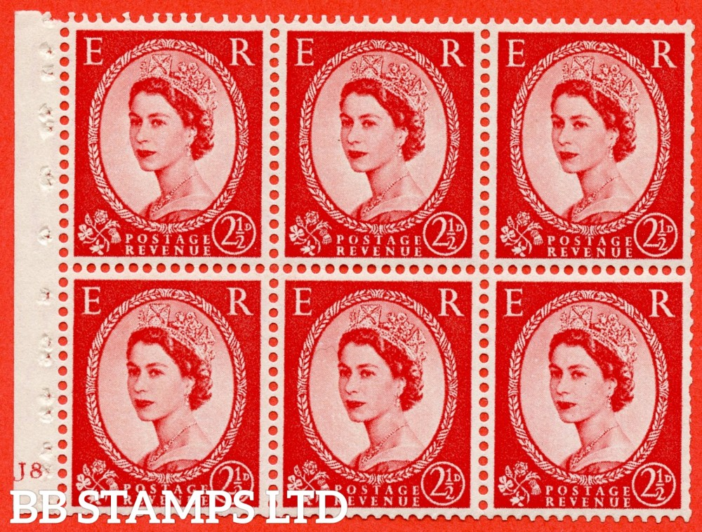 "SG. 544b. SB81. 2½d carmine - red. A fine UNMOUNTED MINT "" J8 no dot "" booklet pane of 6. Perf type (I) with TRIMMED PERFS. Smooth edge"