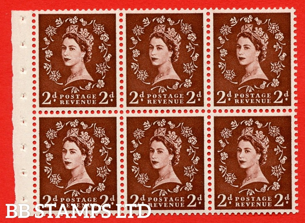 SG. 518. SB76. 2d red - brown. A fine UNMOUNTED MINT booklet pane of 6. Perf type (IR) with Good PERFS.
