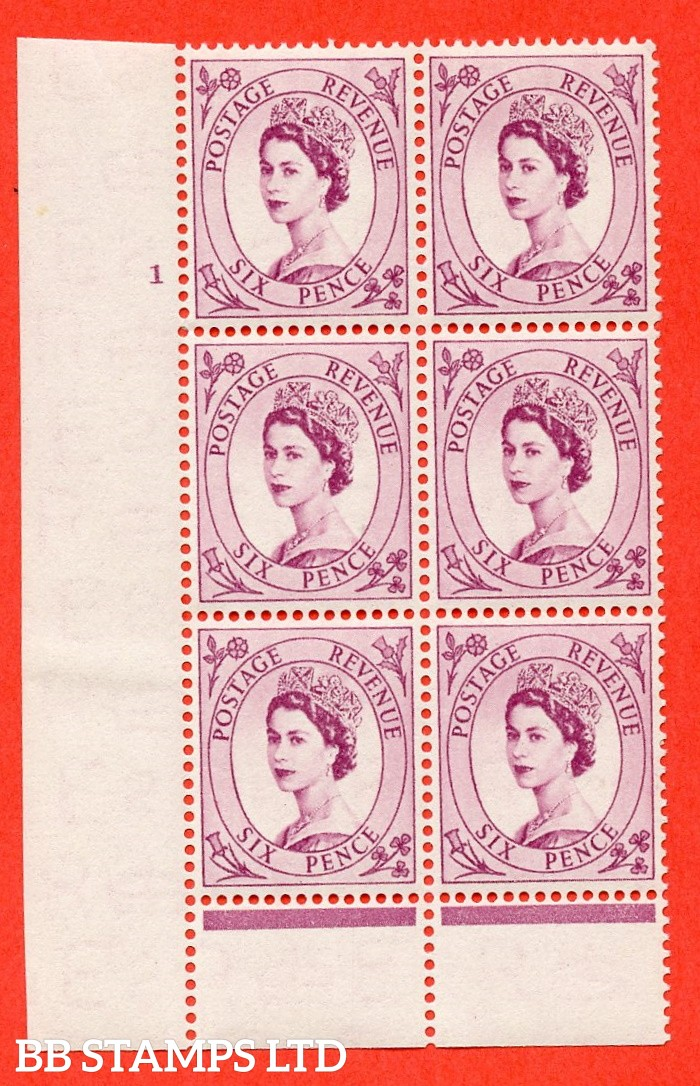 "SG. 523. S104. 6d Purple. A fine mounted mint "" cylinder 1 dot "" control block of 6 with perf type B I/P."