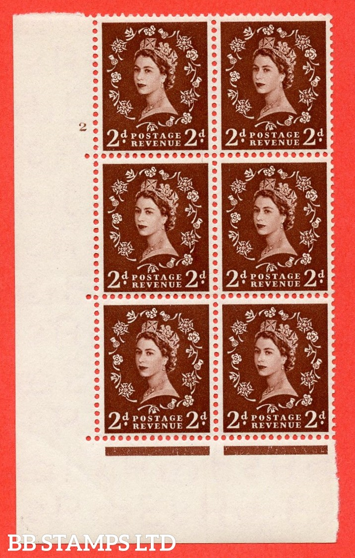 "SG. 518. S36. 2d Red-Brown. A superb UNMOUNTED MINT "" cylinder 2 no dot "" control block of 6 with perf type A E/I."