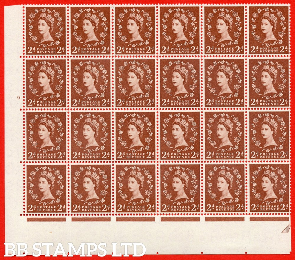 SG. 543b. S38h. 2d. Light Red-brown. A superb MOUNTED MINT example from cylinder 9 dot. corner marginal positional Block of 24. With a Tadpole and shamrock flaws ERROR R.17/6 variety.(variety is UM)