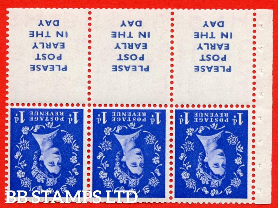 SG. 516Lawi. SB24a. 1d ultramarine. A fine MOUNTED MINT. WATERMARK INVERTED. Complete booklet pane of 6. Perf type (IR) with Good PERFS.
