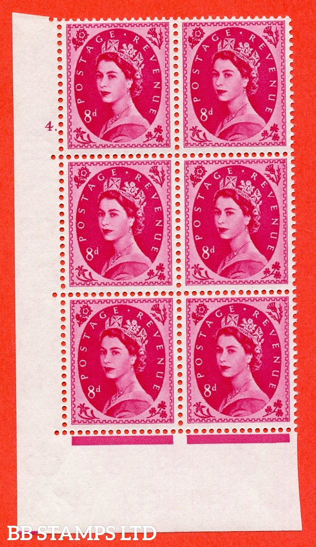 "SG. 581. S122. 8d Magenta. A superb UNMOUNTED MINT "" cylinder 4 dot "" control block of 6 with perf type A E/I. WHITE paper."