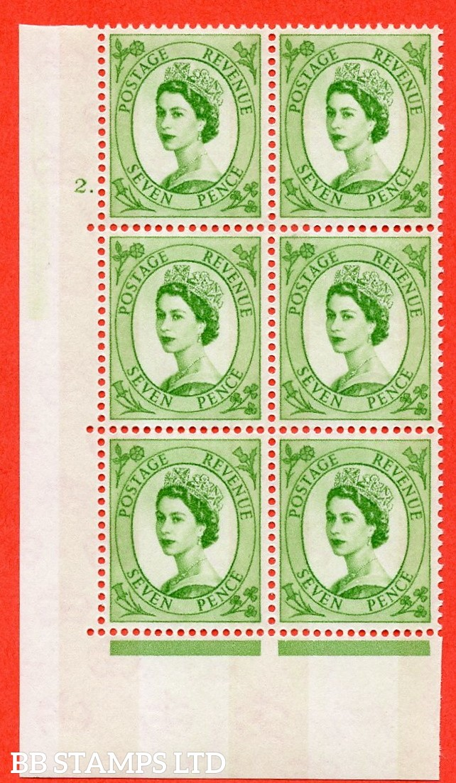 "SG.617a. S118. 7d Bright Green. A superb UNMOUNTED MINT "" cylinder 2 dot "" control block of 6 with perf type A (E/I). violet Phosphor 9½mm Band."