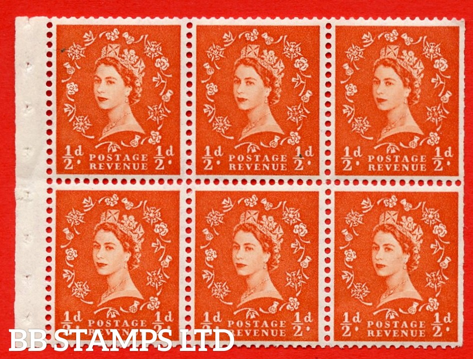 SG. 515. SB1. ½d orange - red. A fine UNMOUNTED MINTexample. Complete Booklet pane of 6. Perf Type IR. Trimmed perfs