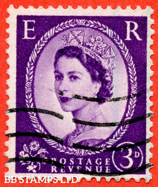 """SG. 592 a. 3d Deep - lilac. """" Misplaced Graphite lines """". A good used example of this scarce QEII variety."""