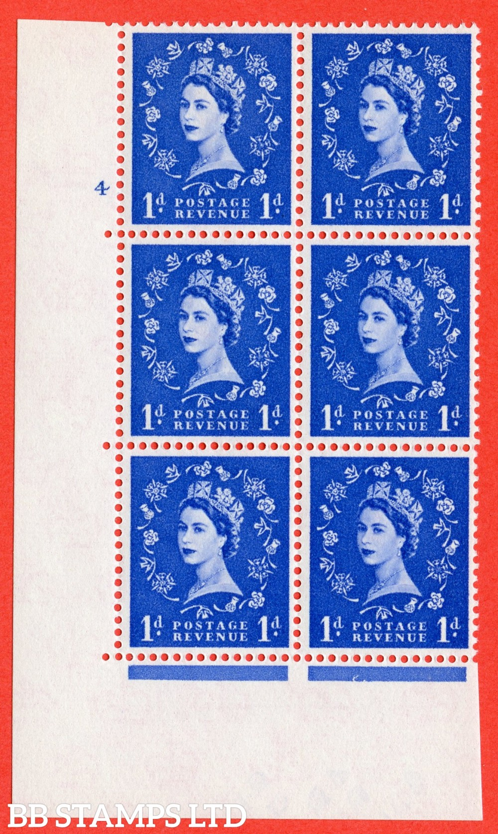 "SG. 571. S17. 1d Ultramarine. A superb UNMOUNTED MINT "" cylinder 4 no dot "" control block of 6 with perf type A E/I. WHITE paper."