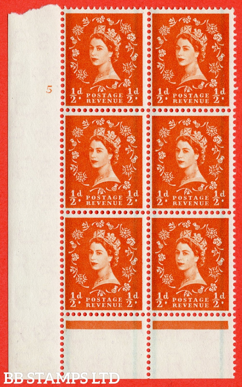 "SG. 561. S3. ½d Orange - Red. A fine lightly mounted mint "" cylinder 5 no dot "" control block of 6 with perf type B I/P."