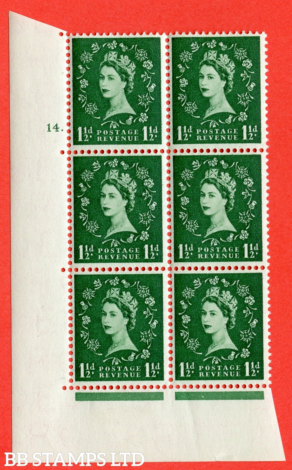 "SG. 542. S26. 1½d. Green. A superb UNMOUNTED MINT "" cylinder 14 dot "" control block of 6 with perf type A E/I"
