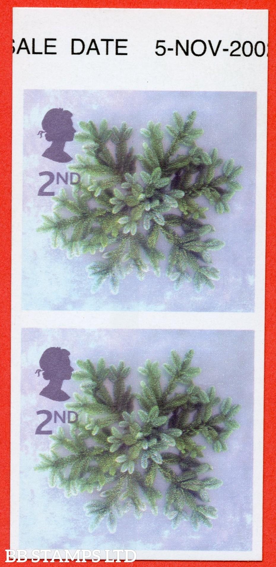 SG. 2321b. 2002 Christmas 2nd class. A fine UNMOUNTED MINT IMPERF ERROR top marginal vertical pair.