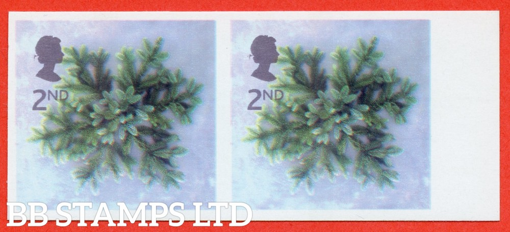 SG. 2321b. 2002 Christmas 2nd class. A fine UNMOUNTED MINT IMPERF ERROR right hand marginal horizontal pair.
