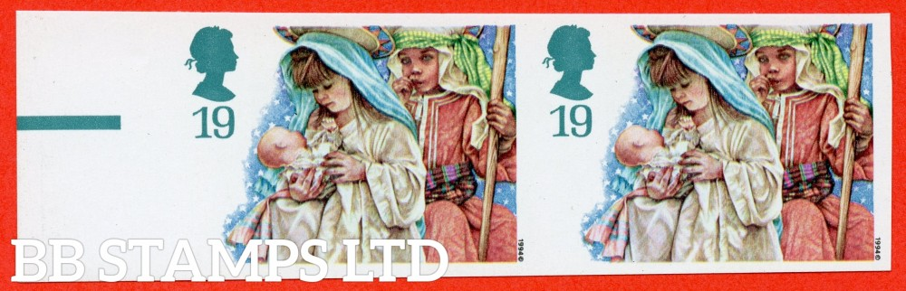 SG. 1843a. 1994 Christmas. 19p. IMPERF ERROR. A very fine UNMOUNTED MINT left hand marginal horizontal pair.