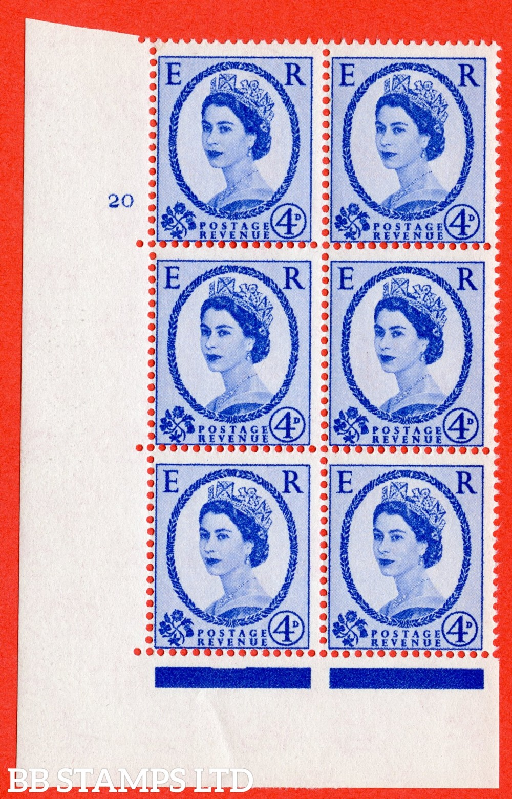 "SG. 576a. S85. 4d Deep Ultramarine. A fine lightly mounted mint "" cylinder 20 no dot "" control block of 6 with perf type A E/I. WHITE paper."