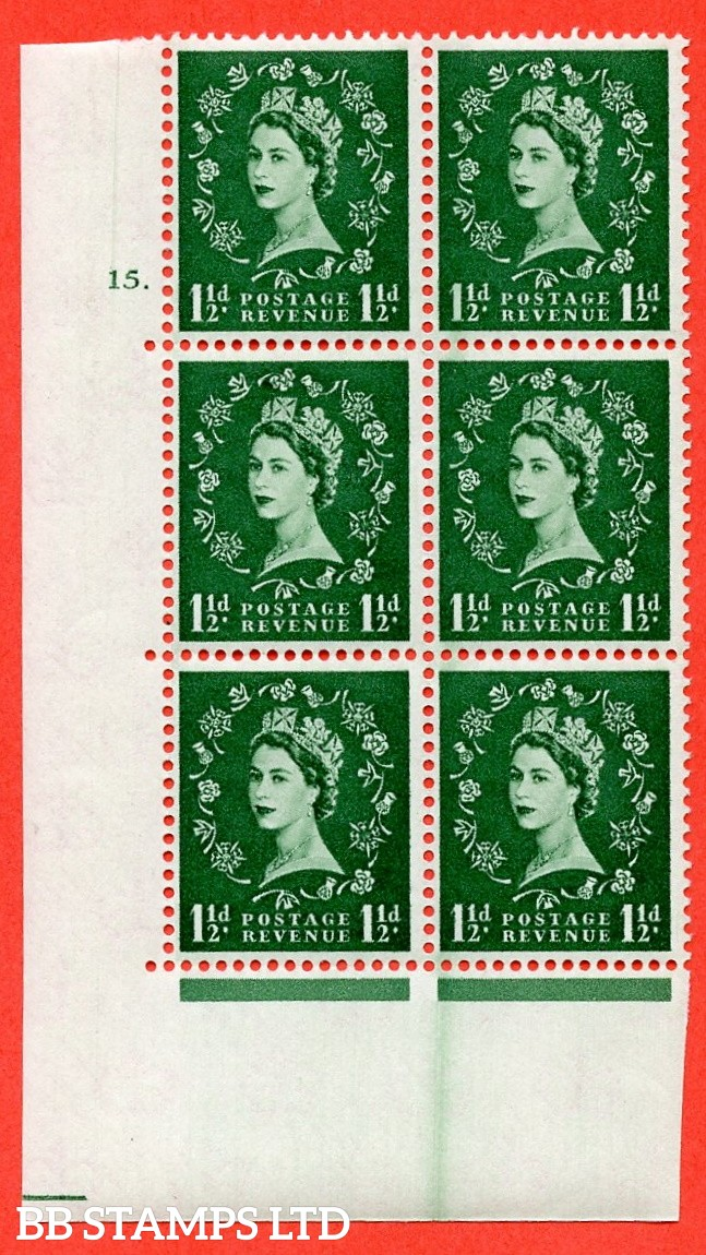 """SG. 572. S28. 1½d Green. A superb UNMOUNTED MINT """" cylinder 15 dot """" control block of 6 with perf type A E/I. CREAM paper."""