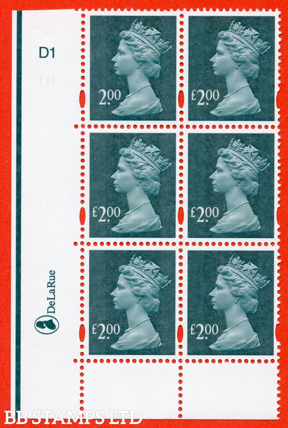 """SG. Y1747a. £2.00 deep blue green. A superb UNMOUNTED MINT cylinder """" D1 no dot """" block of 6 with the listed variety """" MISSING £ IN VALUE. Row 18/1. Cylinder D1 no stop """"."""