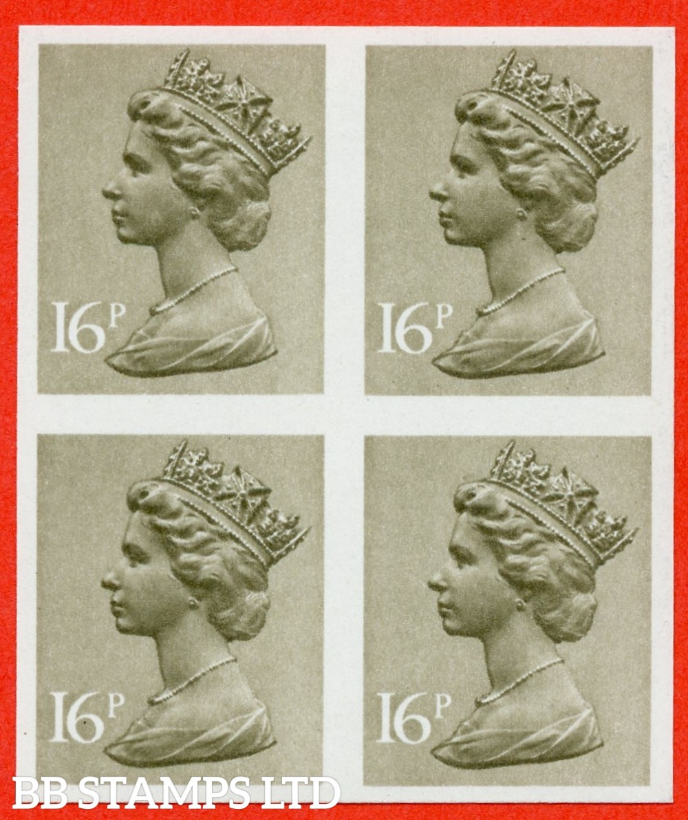 SG. X9489a. 16p Olive Drab. IMPERF. A fine UNMOUNTED MINT block of 4 of this decimal machin ERROR.