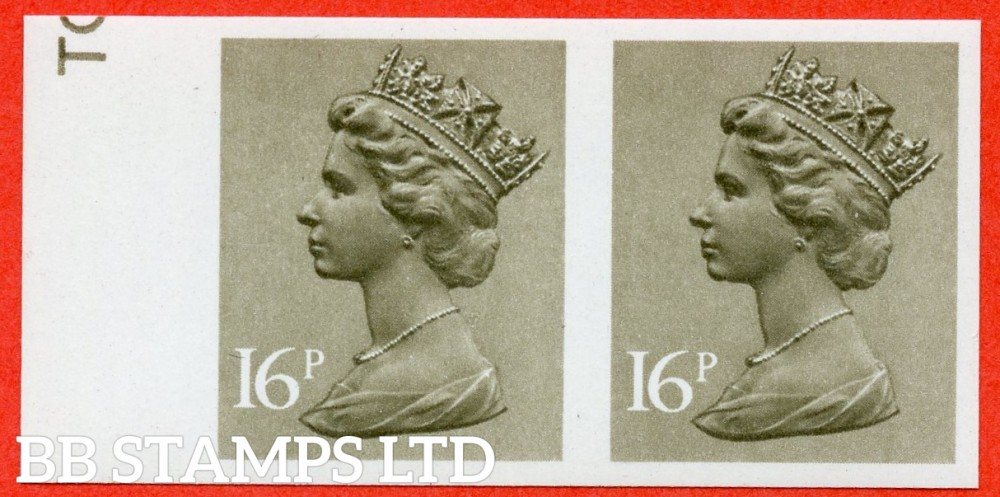 SG. X949a. 16p Olive Drab. IMPERF. A fine UNMOUNTED MINT horizontal pair of this decimal machin ERROR.