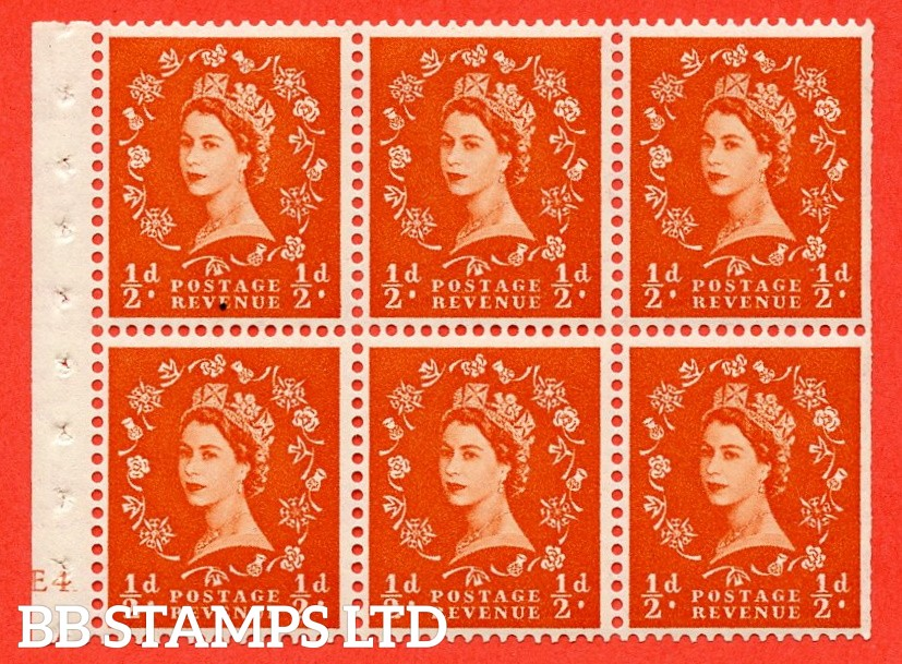 """SG. 515. SB1. ½d orange - red. A fine UNMOUNTED MINT cylinder """" E4 no dot ( Erroneous dot) """" booklet pane of 6. Perf type (I) with TRIMMED PERFS. Smooth edge."""