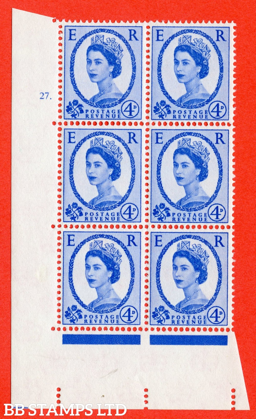 "SG. 576a. S85. 4d Deep Ultramarine. A fine lightly mounted mint "" cylinder 27 dot "" control block of 6 with perf type A E/I. WHITE paper."
