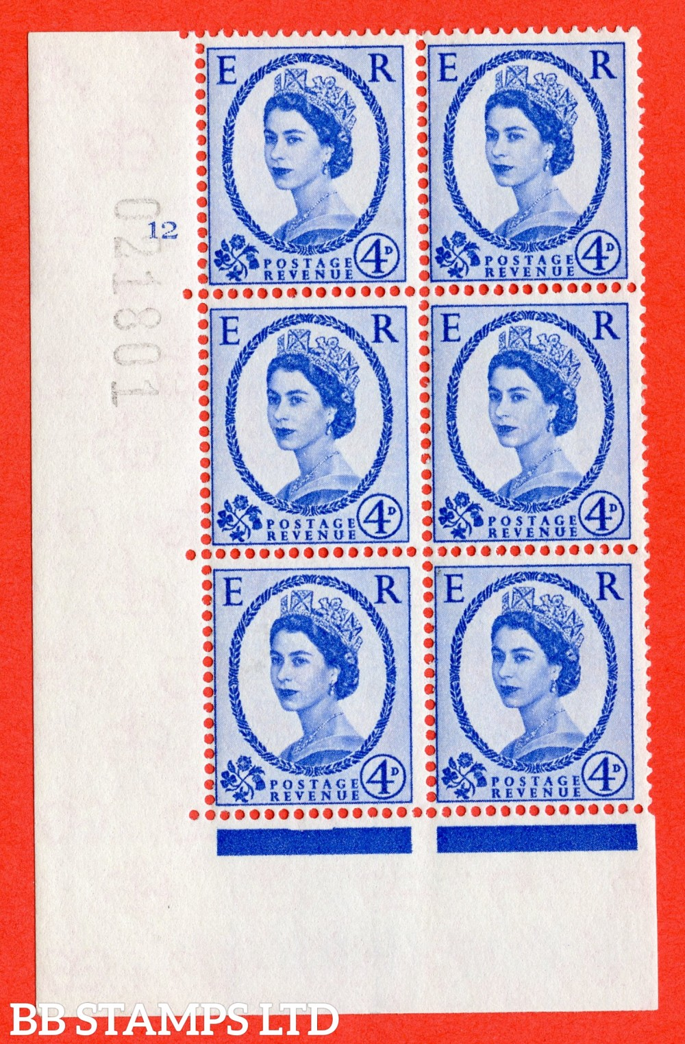 """SG. 576a. S85. 4d Deep Ultramarine. A superb UNMOUNTED MINT """" cylinder 12 no dot """" control block of 6 with perf type A E/I. WHITE paper."""