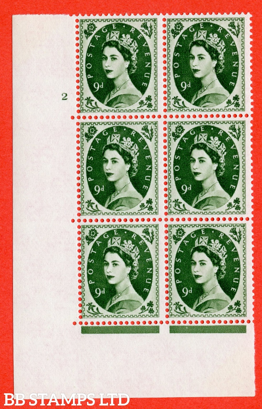 "SG. 582. S127. 9d Bronze-green. A superb UNMOUNTED MINT "" cylinder 2 no dot "" control block of 6 with perf type A E/I. WHITE paper."