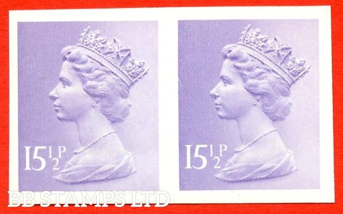 "SG. X948a. 15½p pale violet. A superb UNMOUNTED MINT "" IMPERF "" error horizontal pair."