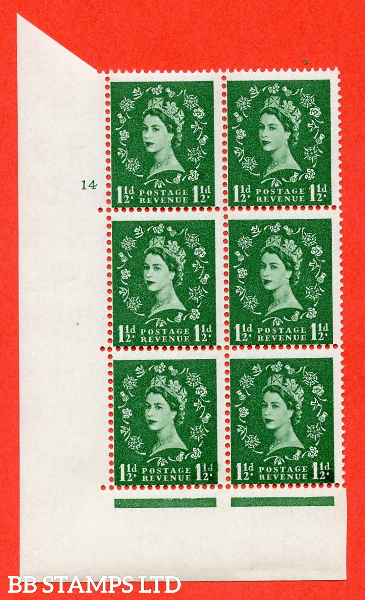 """SG. 542. S26. 1½d. Green. A superb UNMOUNTED MINT """" cylinder 14 no dot """" control block of 6 with perf type A E/I"""