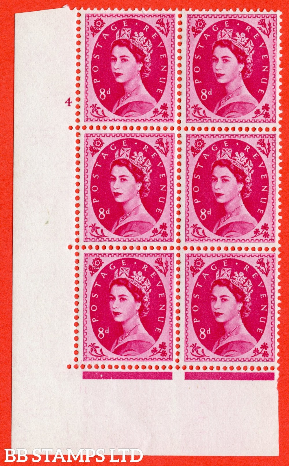 "SG. 581. S122. 8d Magenta. A fine lightly mounted mint "" cylinder 4 no dot "" control block of 6 with perf type A E/I. WHITE paper."