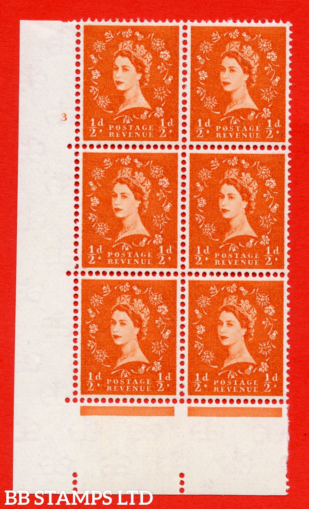 "SG. 570. S5. ½d Orange. A superb UNMOUNTED MINT "" cylinder 3 no dot "" control block of 6 with perf type A E/I. WHITE paper."