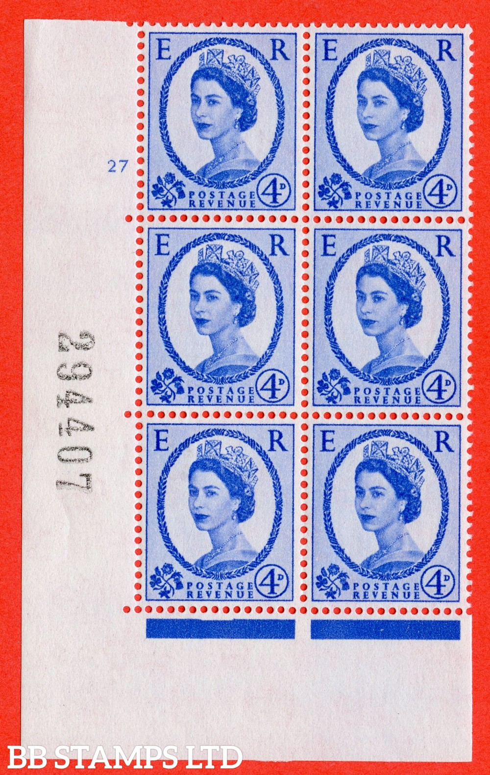 "SG. 576a. S85. 4d Deep Ultramarine. A superb UNMOUNTED MINT "" cylinder 27 no dot "" control block of 6 with perf type A E/I. WHITE paper."