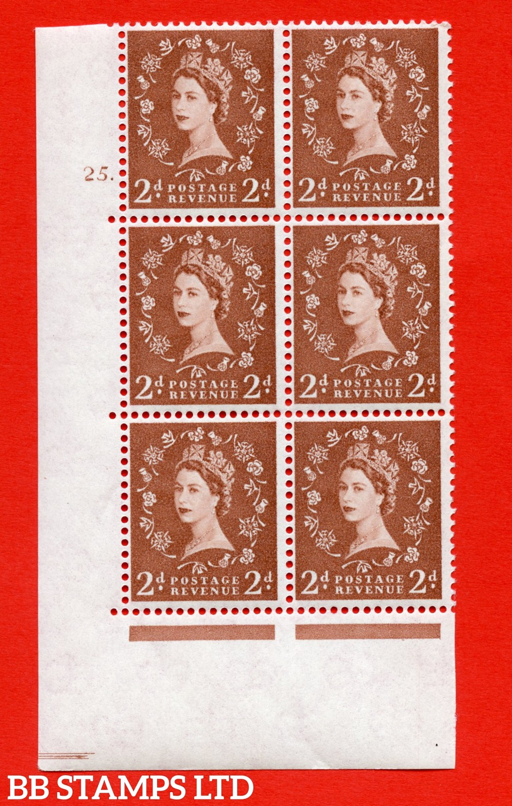 "SG. 573. S41. 2d Red - Brown. A superb UNMOUNTED MINT "" cylinder 25 dot "" control block of 6 with perf type A E/I. WHITE paper."