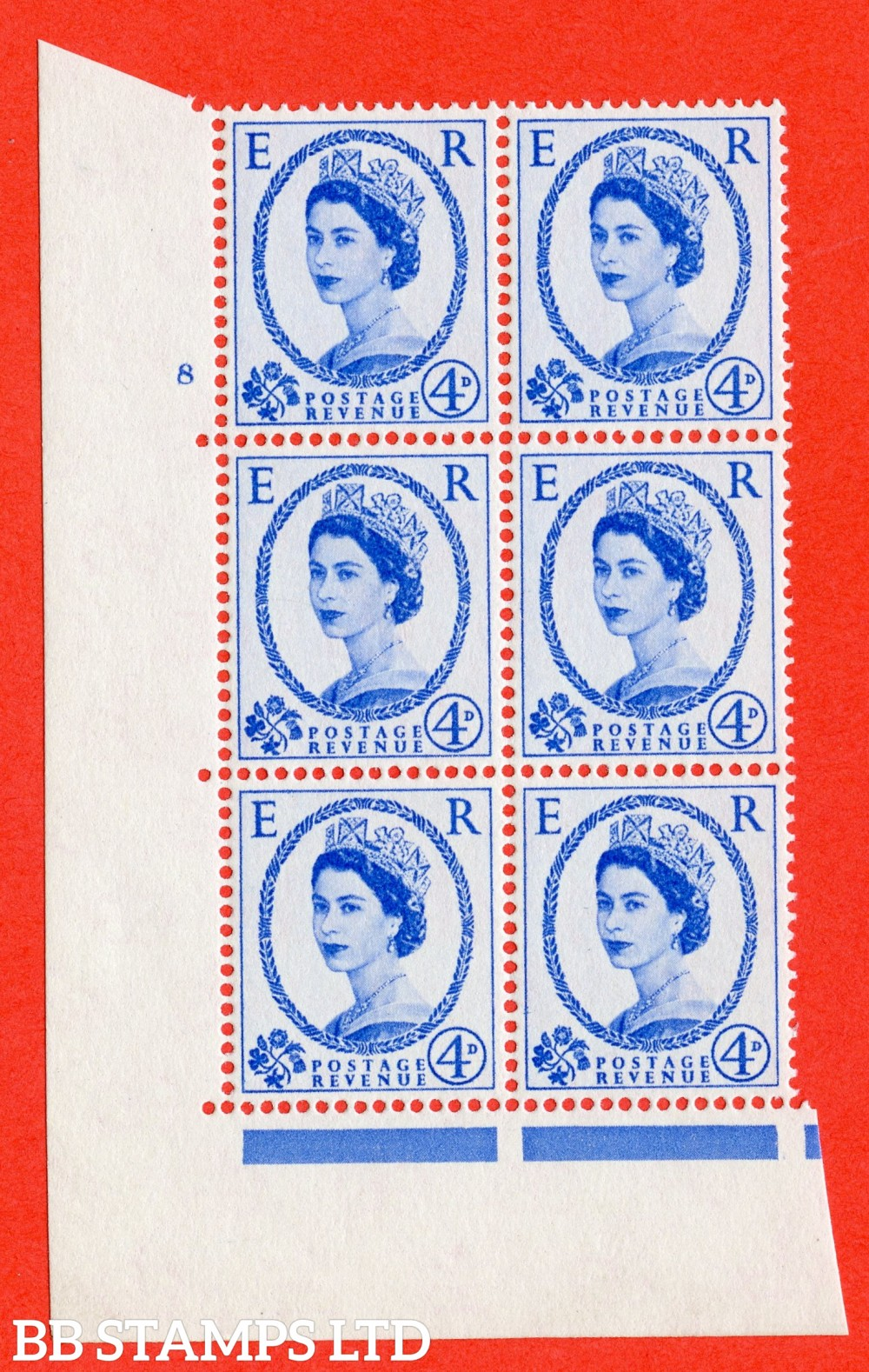 """SG. 576. S84. 4d Ultramarine. A superb UNMOUNTED MINT """" cylinder 8 no dot """" control block of 6 with perf type A E/I. WHITE paper."""